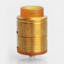 Authentic Digiflavor Aura RDA Rebuildable Dripping Atomizer w/ BF Pin - Gold, Stainless Steel, 24mm Diameter
