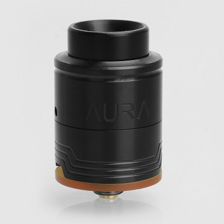 Authentic Digiflavor Aura RDA Rebuildable Dripping Atomizer w/ BF Pin - Black, Stainless Steel, 24mm Diameter