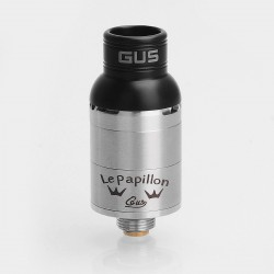 Le Papillon Lepapillon Style RDA Rebuildable Dripping Atomizer w/ BF Pin - Silver, Stainless Steel, 16mm Diameter