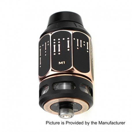 Authentic Nicomore M1 RDTA Rebuildable Dripping Tank Atomizer - Black + Gold, Stainless Steel, 2ml, 24mm Diameter