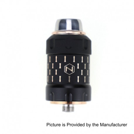 Authentic Nicomore N1 Sub Ohm Tank Atomizer + N1 Mate Kit - Black + Gold, Stainless Steel, 2ml, 25mm Diameter, 36 Beads