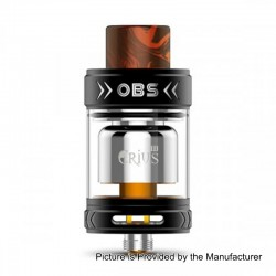 Authentic OBS Crius II RTA Rebuildable Tank Atomizer - Black, Stainless Steel, 25mm Diameter