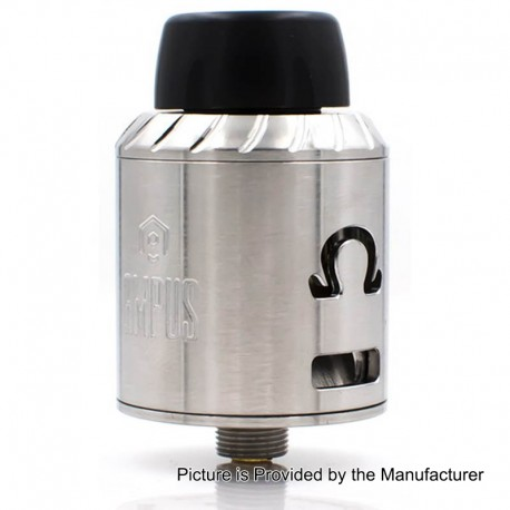 Ampus Style RDA Rebuildable Dripping Atomizer - Silver, Stainless Steel, 24.5mm Diameter