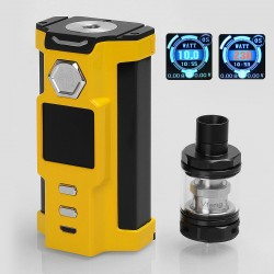 Authentic Sigelei Snowwolf Vfeng 230W VW Variable Wattage Box Mod + Vfeng Tank Kit - Yellow, 10~230W, 2 x 18650, 3ml, 24mm