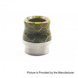 810 Replacement Wide Bore Drip Tip for Kennedy 24 / 25 / Mad Dog / Battle RDA - Yellow, Resin + Stainless Steel, 17.5mm