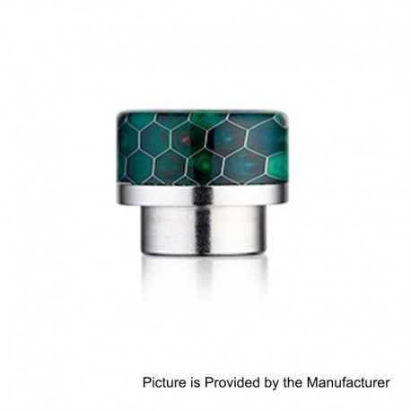 810 Replacement Wide Bore Drip Tip for 528 Goon / Kennedy / Battle RDA - Cyan, Resin + Stainless Steel, 14mm