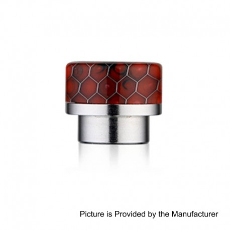810 Replacement Wide Bore Drip Tip for 528 Goon / Kennedy / Battle RDA - Red, Resin + Stainless Steel, 14mm