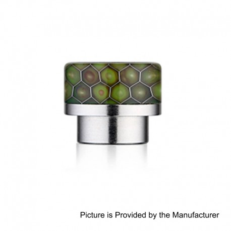 810 Replacement Wide Bore Drip Tip for 528 Goon / Kennedy / Battle RDA - Green, Resin + Stainless Steel, 14mm