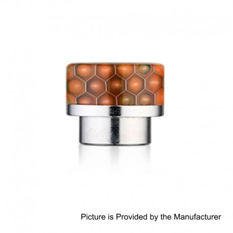 810 Replacement Wide Bore Drip Tip for 528 Goon / Kennedy / Battle RDA - Orange, Resin + Stainless Steel, 14mm