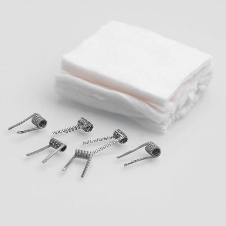 Authentic Claptonwire Coils + Cotton Kit for DIY Coiling - Advanced Coils (6 PCS) + Pre-cut Cottons (12 PCS)