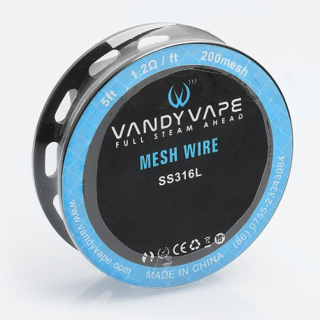 Authentic Vandy Vape SS316L Mesh Wire DIY Heating Wire for Mesh RDA - 1.2 Ohm / Ft, 5 Feet (200 Mesh)
