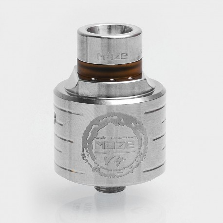 Authentic Hcigar Maze V4 RDA Rebuildable Dripping Atomizer w/ BF Pin - Silver, 316 Stainless Steel, 24mm Diameter