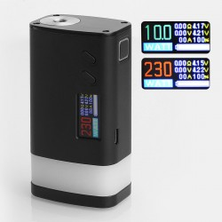 Authentic Sigelei Fuchai GLO 230W TC VW Variable Wattage Mod - Black, Aluminum Alloy + Zinc Alloy, 10~230W, 2 x 18650