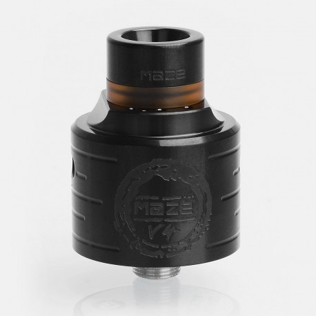 Authentic Hcigar Maze V4 RDA Rebuildable Dripping Atomizer w/ BF Pin - Black, 316 Stainless Steel, 24mm Diameter