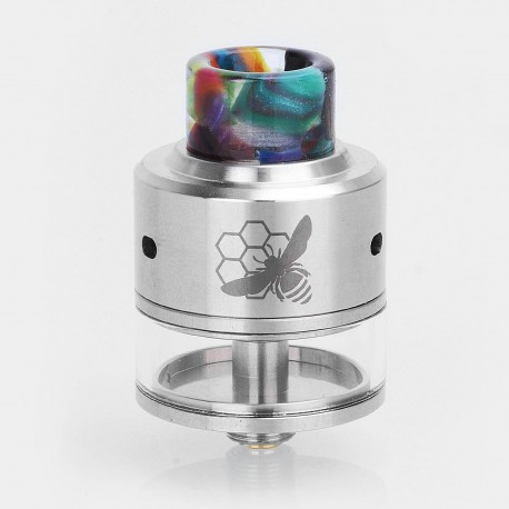 Authentic Aleader Little Bee RDTA Rebuildable Dripping Tank Atomizer - Silver, Stainless Steel, 2.5ml, 24mm Diameter