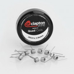 Authentic Claptonwire Quad Coils Kanthal A1 Heating Wire - 28GA x 4, 0.36 Ohm (10 PCS)