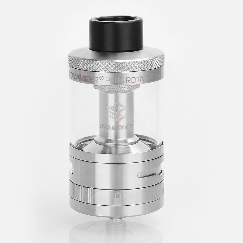 Authentic Steam Crave Aromamizer Plus RDTA Rebuildable Dripping Tank Atomizer - Silver, Stainless Steel, 10ml, 30mm Diameter