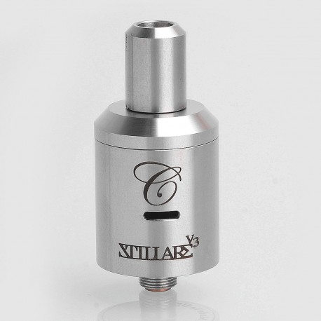 SXK Stillare Storm V3 Style RDA Rebuildable Dripping Atomizer - Silver, Stainless Steel, 22mm Diameter