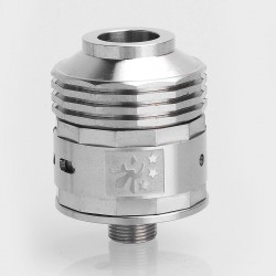 SXK Dominatior Style RDA Redbuildable Dripping Atomizer - Silver, Stainless Steel, 21.5mm Diameter