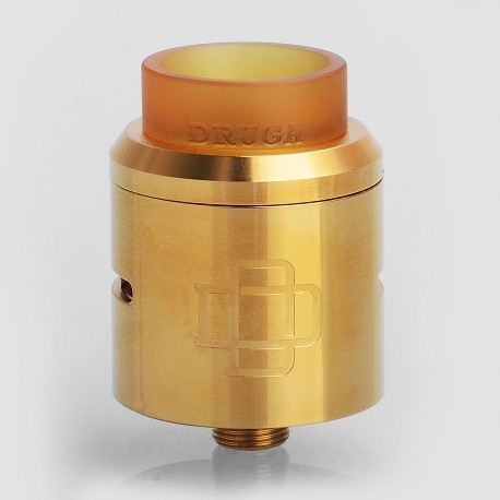 Authentic Augvape Druga RDA 24K Gold Limited Edition Rebuildable Dripping Atomizer w/ BF Pin - Gold, Stainless Steel, 24mm Dia.