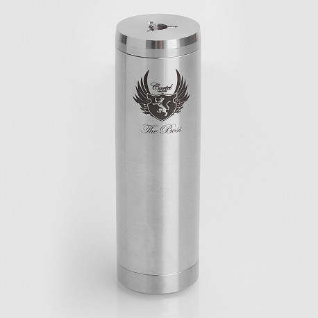 SXK Cartel Style Mechanical Mod w/ Extra Top Cap - Silver, Stainless Steel, 1 x 26650