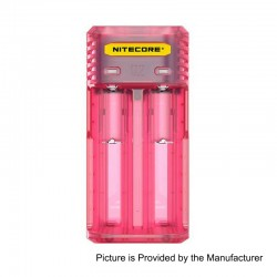 Authentic Nitecore Q2 2A Quick Charger for 18650 / 20700 / 26650 Rechargeable Battery - Pink, 2 x Battery Slots, US Plug