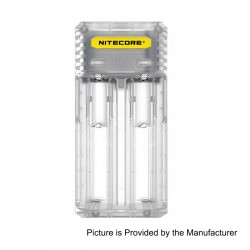Authentic Nitecore Q2 2A Quick Charger for 18650 / 20700 / 26650 Rechargeable Battery - Transparent, 2 x Battery Slots, US Plug