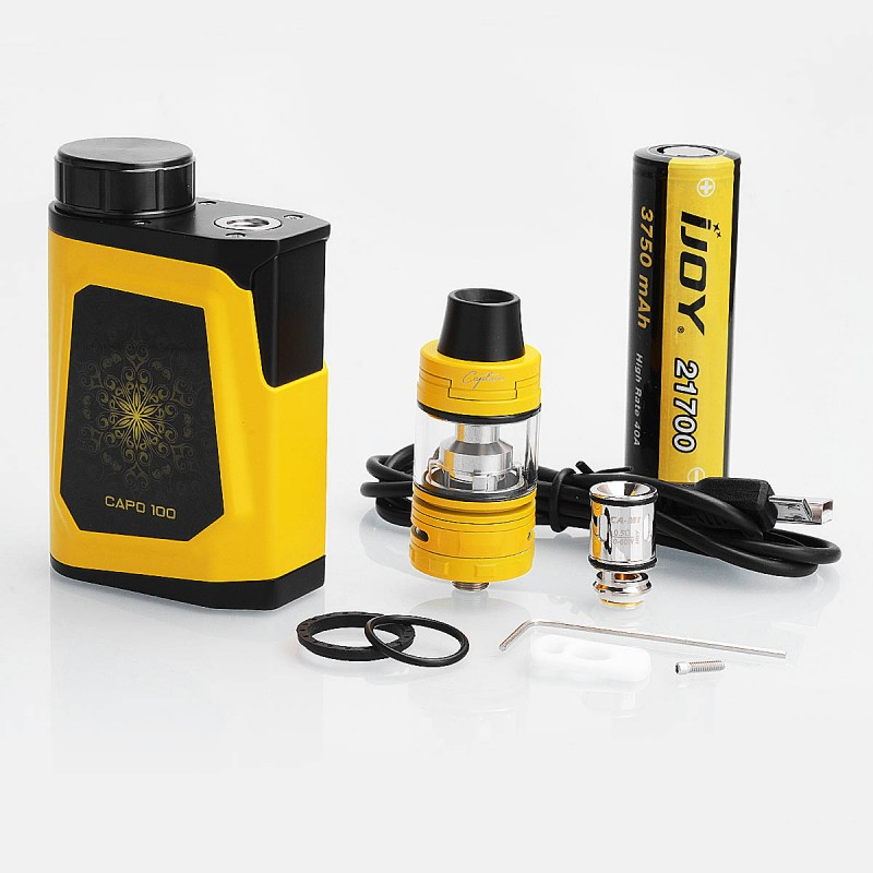 authentic ijoy capo 100w 21700 yellow box mod captain. Black Bedroom Furniture Sets. Home Design Ideas
