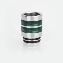 810 Drip Tip for TFV12 / TFV8 Tank / 528 Goon / Kennedy / Battle RDA - Silver + Green, Stainless Steel + Resin, 21mm