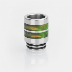 810 Drip Tip for TFV12 / TFV8 Tank / 528 Goon / Kennedy / Battle RDA - Silver + Yellow, Stainless Steel + Resin, 21mm