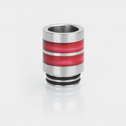 810 Drip Tip for TFV12 / TFV8 Tank / 528 Goon / Kennedy / Battle RDA - Silver + Red, Stainless Steel + Resin, 21mm