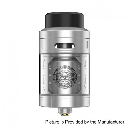 Authentic GeekVape Zeus RTA Rebuildable Tank Atomizer - Silver, Stainless Steel, 25mm Diameter, 2ml EU / TPD Edition