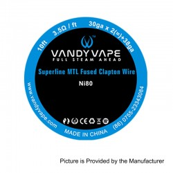 Authentic Vandy Vape Ni80 Superfine MTL Fused Clapton Wire Heating Resistance Wire - 30GA x 2 + 38GA, 3m (10 Feet)