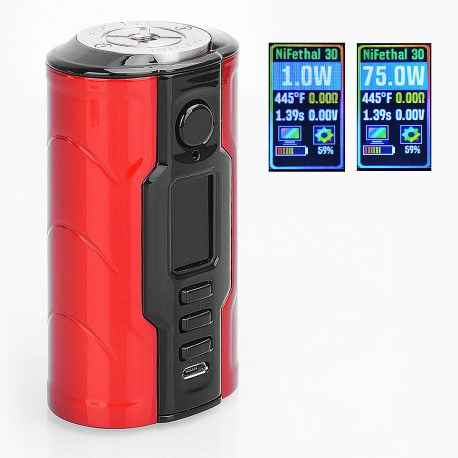 Authentic VapeCige Creator DNA75C 75W TC VW Variable Wattage Box Mod - Red + Black, Zinc Alloy, 1~75W, 2 x 18650, Evolv DNA 75C