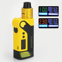 Authentic Sigelei Fuchai Vcigo K2 175W TC VW Variable Wattage Box Mod + Cubic RDA Kit - Yellow, Zinc Alloy, 10~175W, 2 x 18650