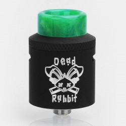 Authentic Hellvape Dead Rabbit RDA Rebuildable Dripping Atomizer w/ BF Pin - Black, Stainless Steel, 24mm Diameter