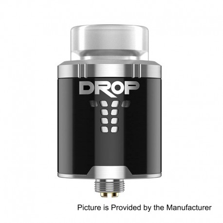 Authentic Digiflavor DROP RDA Rebuildable Dripping Atomizer w/ BF Pin - Black, Stainless Steel, 24mm Diameter