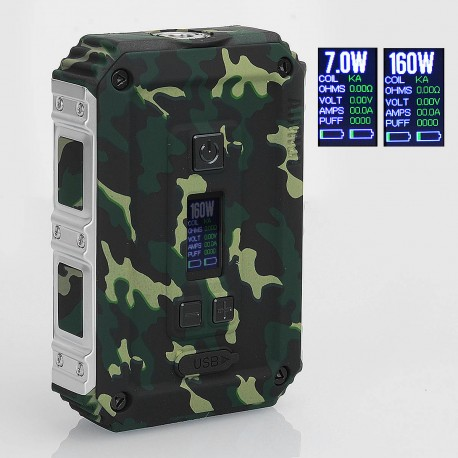 Authentic AIMIDI Tank T2 160W Waterproof TC VW Variable Wattage Box Mod - Army Green, 7~160W, 2 x 18650