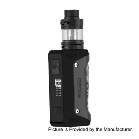 Authentic GeekVape Aegis 100W TC VW Variable Wattage Mod + Shield Tank Kit - Gun Metal, 1~100W, 1 x 18650 / 26650, 4.5ml