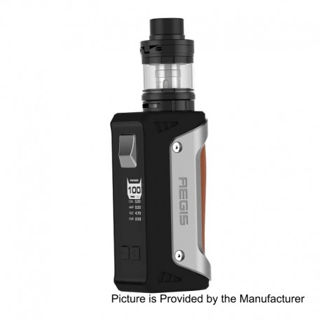 Authentic GeekVape Aegis 100W TC VW Variable Wattage Mod + Shield Tank Kit - Silver + Brown, 1~100W, 1 x 18650 / 26650, 4.5ml