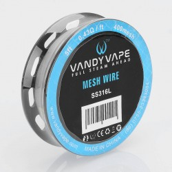 Authentic Vandy Vape SS316L Mesh Wire DIY Heating Wire for Mesh RDA - 0.43 Ohm / Ft, 5 Feet (400 Mesh)