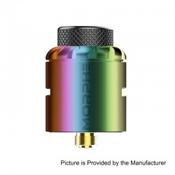 Authentic Tigertek Morphe RDA Rebuildable Dripping Atomizer w/ BF Pin - Rainbow, Stainless Steel, 24mm Diameter