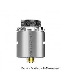 Authentic Tigertek Morphe RDA Rebuildable Dripping Atomizer w/ BF Pin - Silver, Stainless Steel, 24mm Diameter