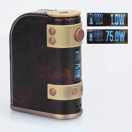 Authentic Vapeman Steam Engine 75W TC VW Variable Wattage Box Mod - Brown, 1~75W, 2 x 18650, Evolv DNA75 Chip