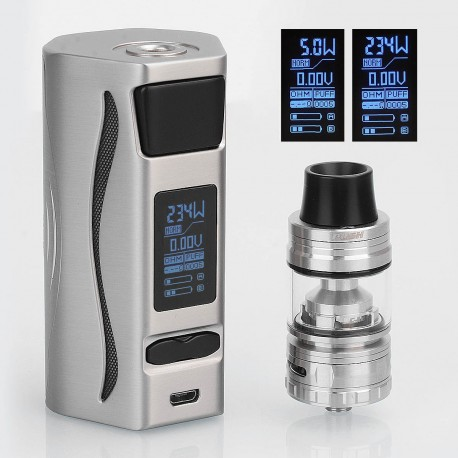 Authentic IJOY Genie PD270 234W TC VW Mod + Captain S Tank Kit - Silver, 2 x 20700, 4ml, 25mm, w/o Battery