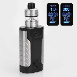 Authentic Wismec Sinuous FJ200 200W 4600mAh TC VW Variable Wattage Mod + Divider Tank Kit - Black, 1~200W, 4ml, 25mm Diameter