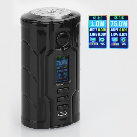 Authentic VapeCige Creator DNA75C 75W TC VW Variable Wattage Box Mod - Black, Zinc Alloy, 1~75W, 2 x 18650, Evolv DNA 75C