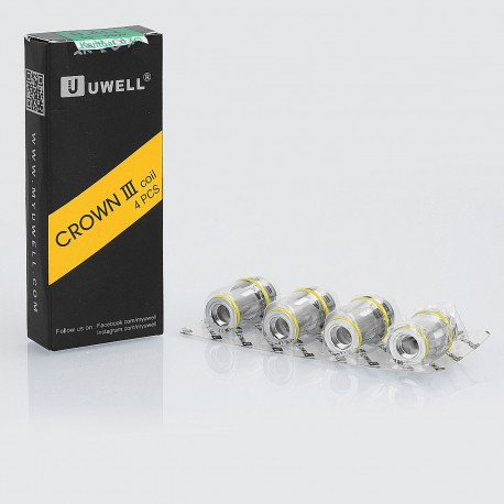 Authentic Uwell Replacement Coil Head for Crown 3 Tank - SUS316 Stainless Steel + Kanthal A1, 0.4 Ohm (55~65W) (4 PCS)