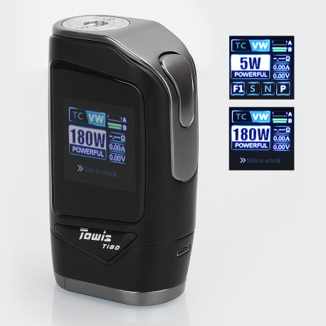 Authentic Hcigar Towis T180 180W TC VW Variable Wattage Box Mod - Black, 5~180W, 2 x 18650