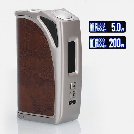 Authentic Think Vape Exus Ark 200W TC VW Variable Wattage Box Mod - Silver + Brown Leather, 5~200W, 2 x 18650